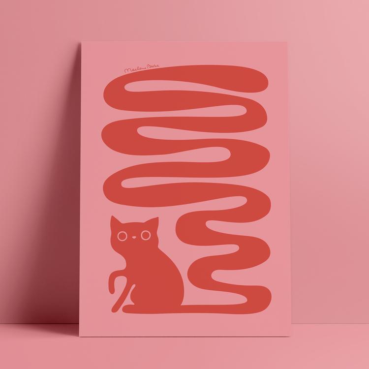 Poster med motivet Svanskatt – en katt med lång slingrande svans. Färg: rödrosa.