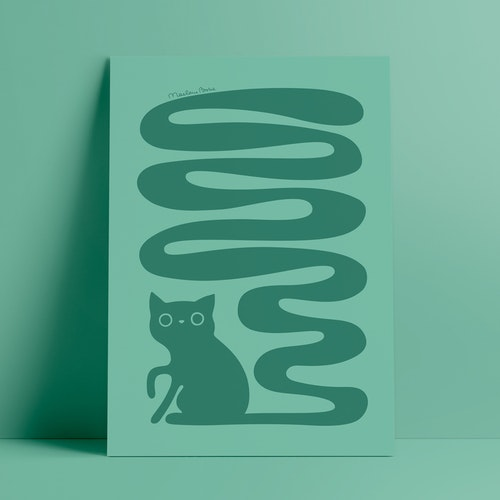 Svanskatt | turkosgrön | A4 + A3