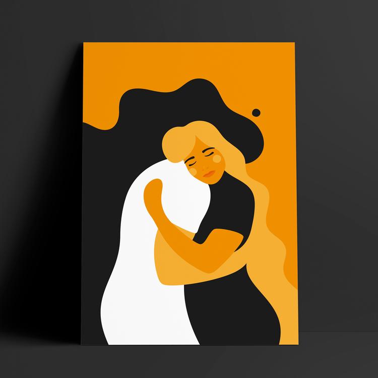 Poster med motivet Kram – två personer som omfamnar varandra i en tröstande kram. Färg: gul och orange,
