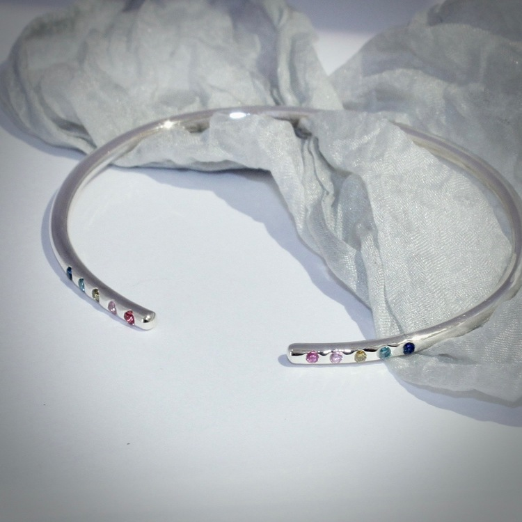 Elegancy with colours. M O O D  Bracelet with rainbow colours of sapphires. Stockholm jewels