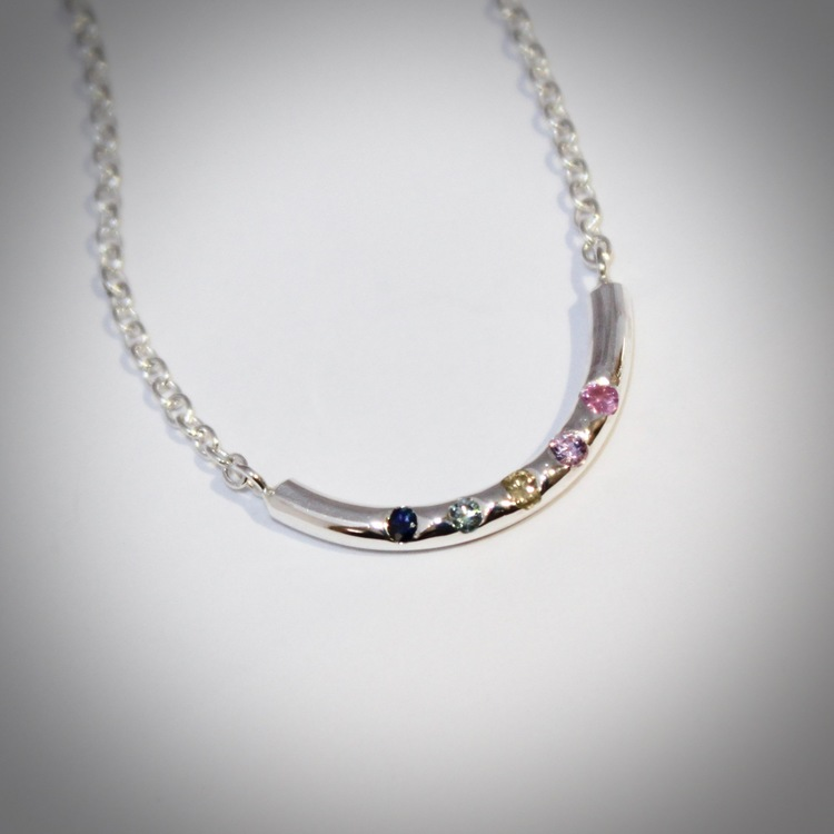 Elegancy with colours. M O O D  necklace with rainbow colours of sapphires. Stockholm jewels