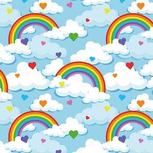 Blå regnbåge - Oeko-tex trikå