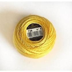 Pärlgarn nr 8 gul 726