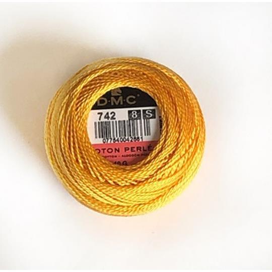 Pärlgarn nr 8 gul 742