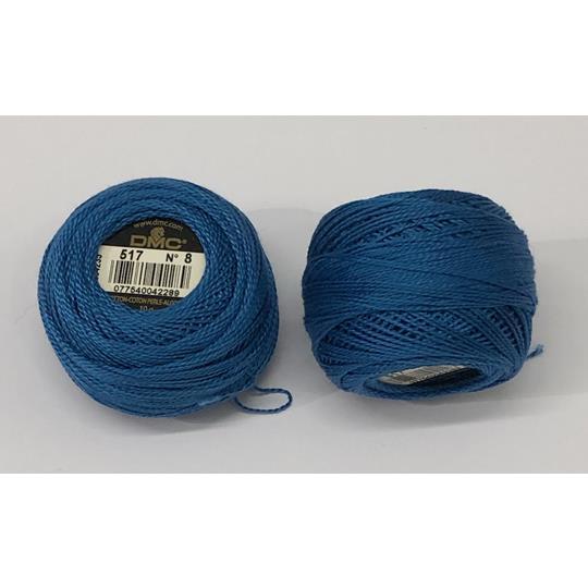 Pärlgarn nr 8 blå 517