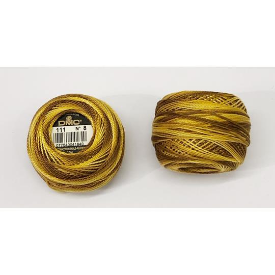 Pärlgarn nr 8 gul brun melerad 111