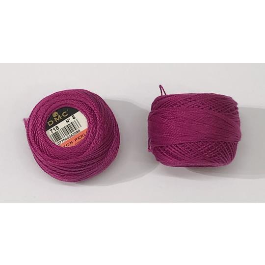 Pärlgarn nr 8 rosa 718