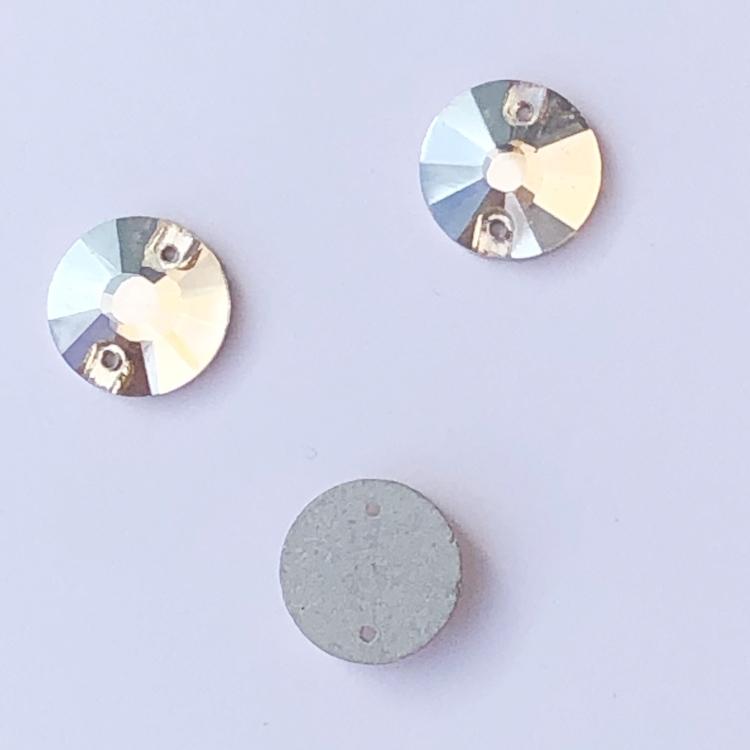 Kristallpärla platt rund 12mm guld