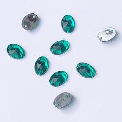 Pärla 10x15mm oval jadegrön 5-p