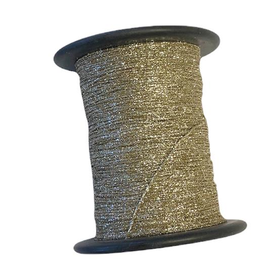 Metallictråd 1mm glitter oliv / blek guld