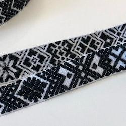 Allmogeband svartvitt 25mm