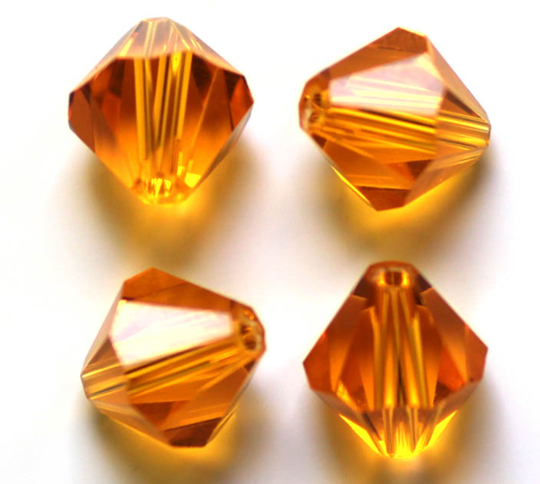 Pärla bicone glas guldgul 10-p