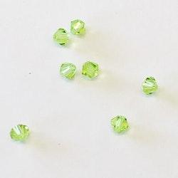Pärla bicone glas ljusgrön 4mm 10-p