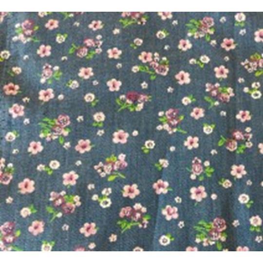 Bomullstyg blommigt ljust jeansblått