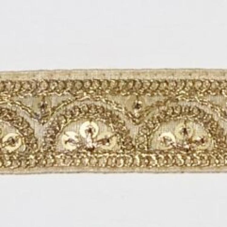 Dekorband beige med gulddekor