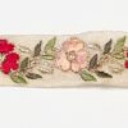 Dekorband beige med röda & rosa blommor