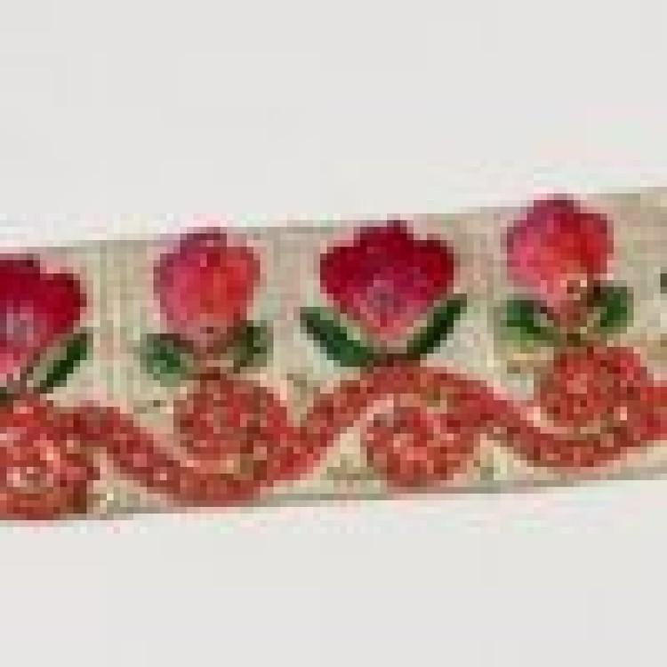 Dekorband blommor beige rosa