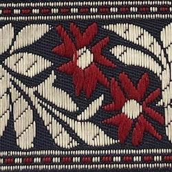 Dekorband blommor & blad röd