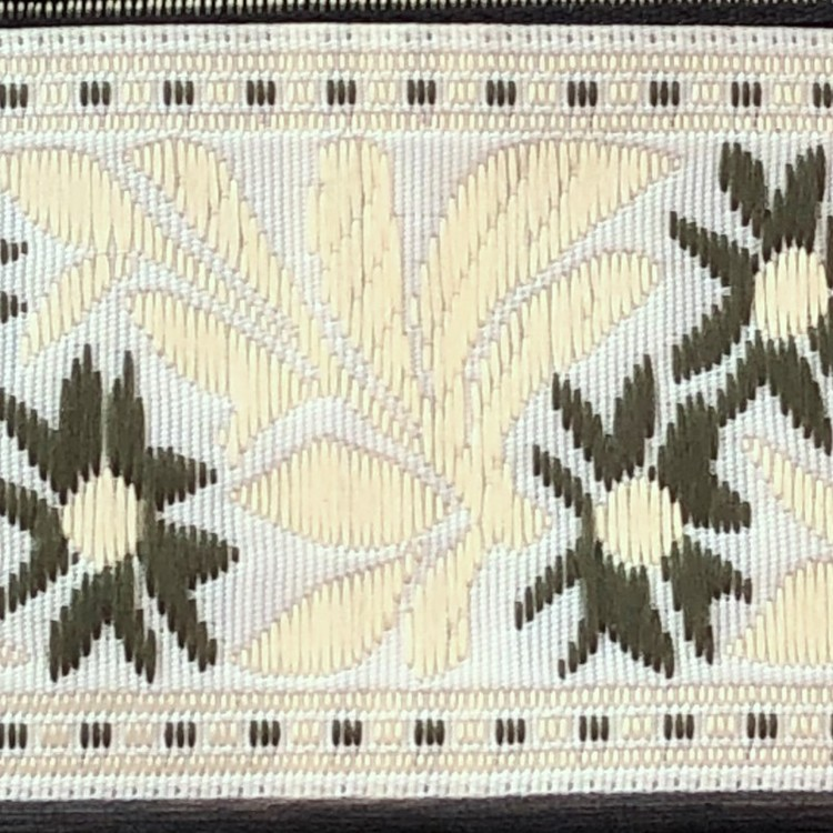 Dekorband blommor & blad vit