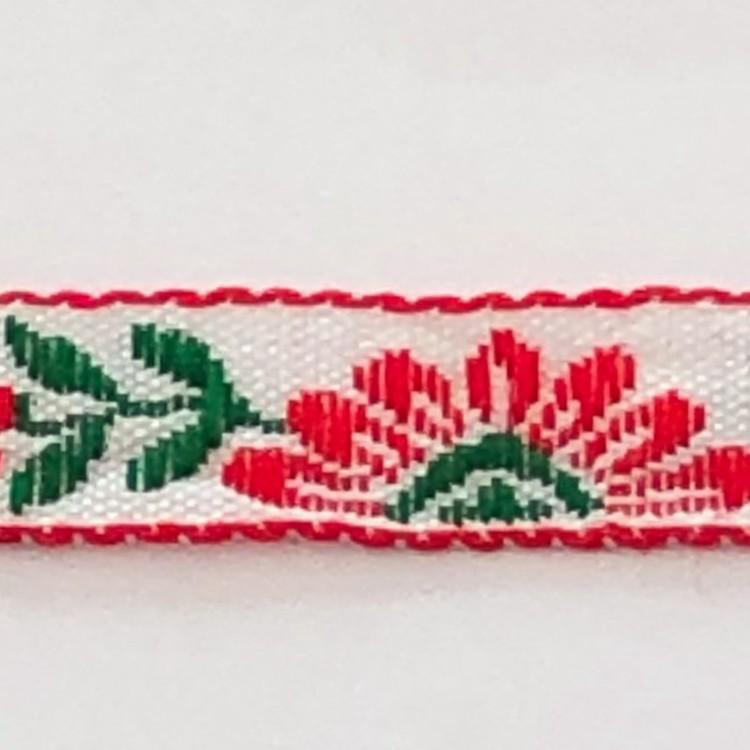 Dekorband blommor rött & grönt