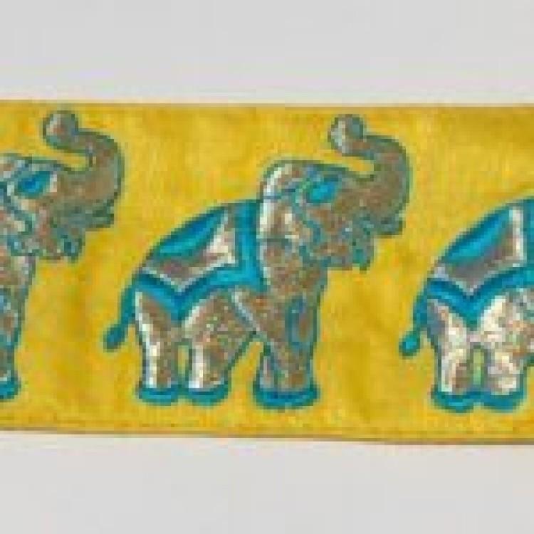 Dekorband gult med turkosa elefanter
