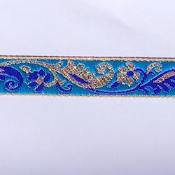 Dekorband turkost med blomgirlang i blått & guld