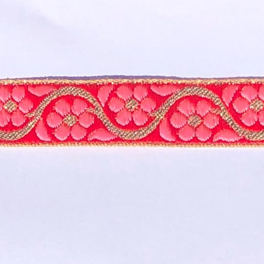 Dekorband rött med rosa blommor