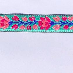Dekorband turkos med blomranka i rosa & cerise