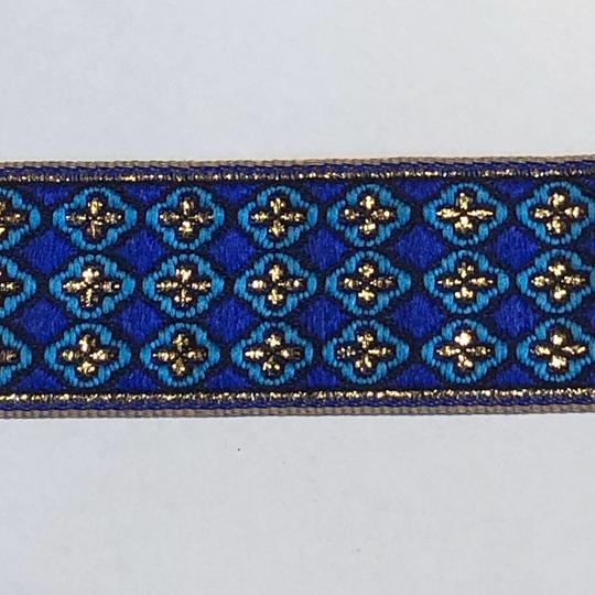 Dekorband blått & turkost med guldkors