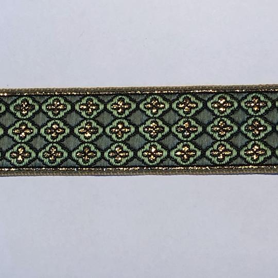 Dekorband grönt med guldkors