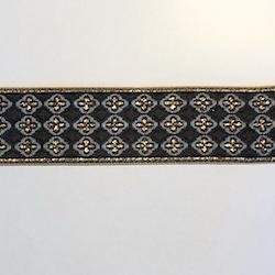 Dekorband svart & grått med guldkors