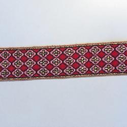Dekorband rött & rosa med guldkors