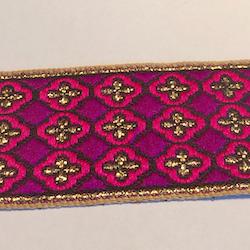 Dekorband lila & cerise med guldkors