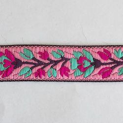 Dekorband rosa med blomranka i cerise & turkos