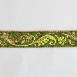 Dekorband olivgrönt med blomgirlang i lime & guld
