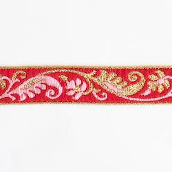Dekorband rött med blomgirlang i rosa & guld