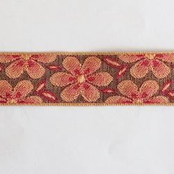 Dekorband retro blomma rosa & brun