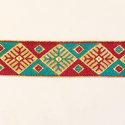 Dekorband grafiskt romber turkos & vinröd