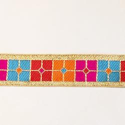 Dekorband grafiskt i guld, cerise, rött & orange