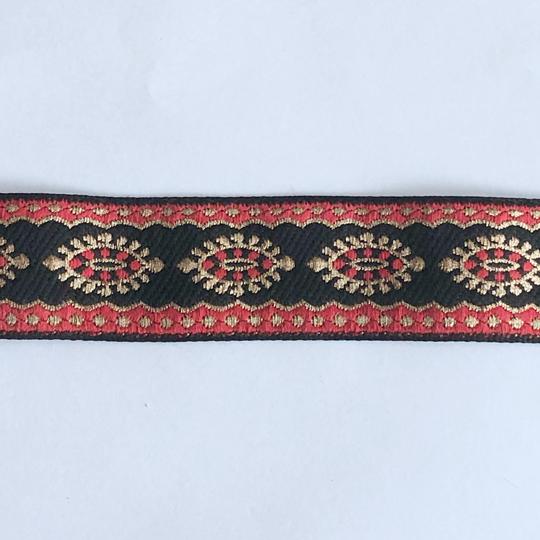 Dekorband svart med ovaler i rött och guld