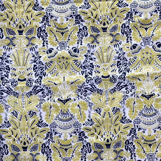 Bomullstyg mönstrat blå gult