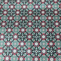 Bomullstyg mönstrat turkost grönt rött