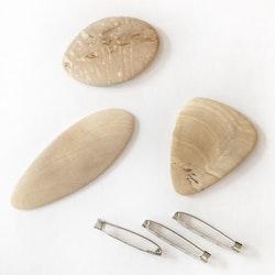 Material till brosch obehandlad med nål 3-p
