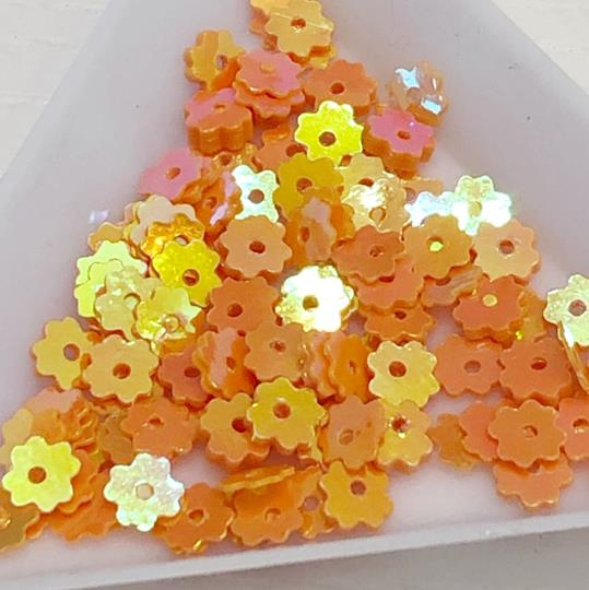 Paljett blomma orange 5mm