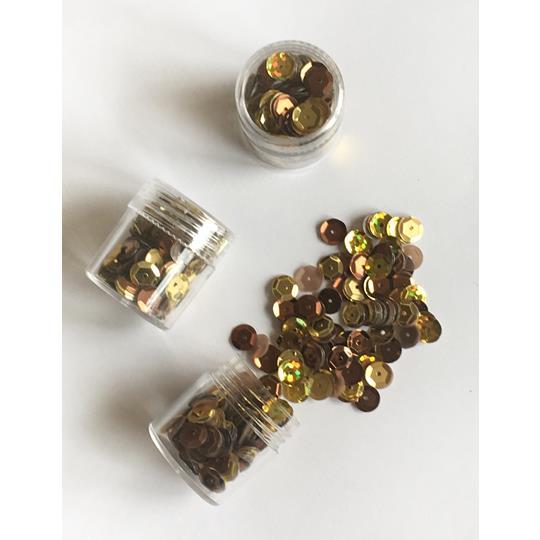 Paljett 6mm guld mix