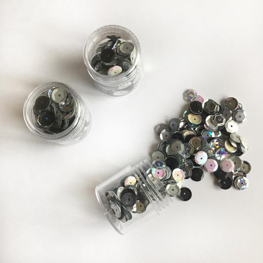Paljett 6mm silver mix