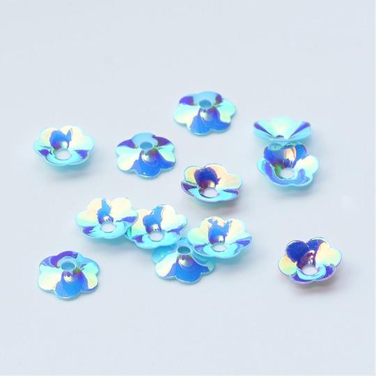 Paljett 8mm blomma ljusblå