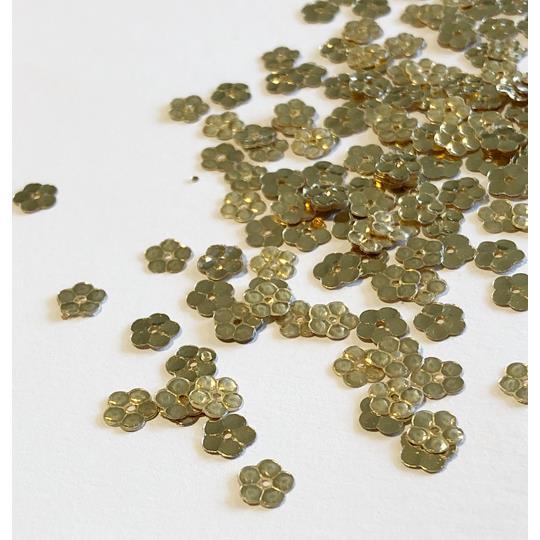 Paljett blomma 5mm guld