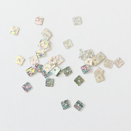 Paljett 5x5mm hologram silver