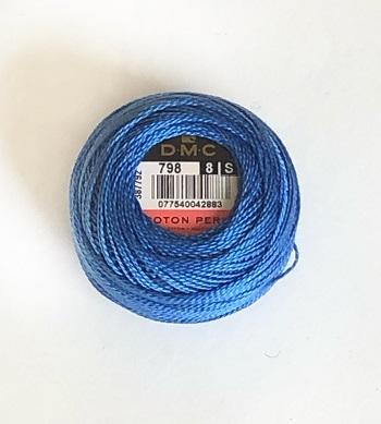Pärlgarn nr 8 blå 798